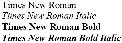 Reverting back to Times Roman