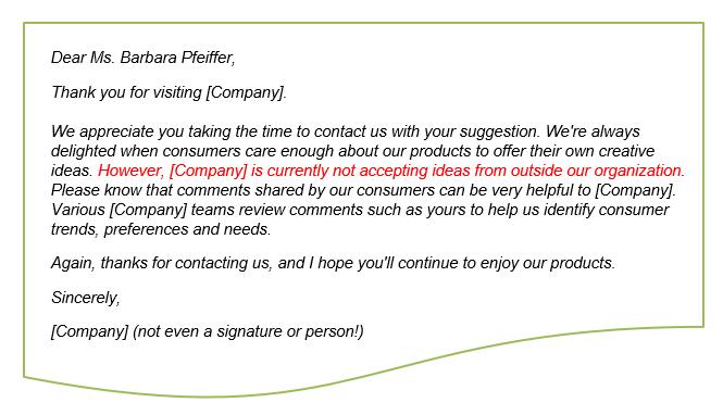 Voice of Customer Sample Letter