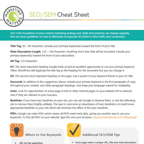 SEO/SEM Cheat Sheet