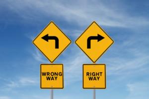 Right & Wrong Way Signs_istock